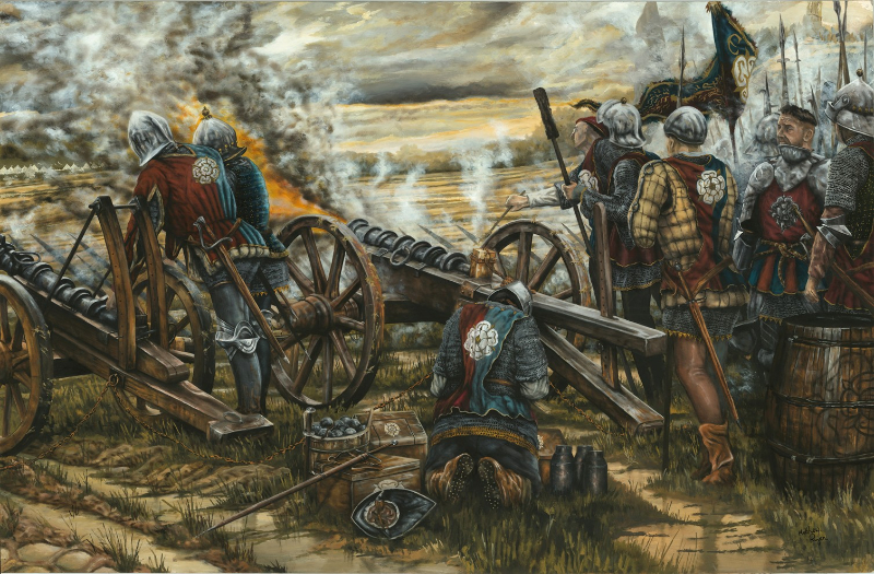 New painting of the battle showing the Yorkist gun line with Queen Eleanor's Cross in the background by historical artist Matthew Ryan. (rights to use agreement, available on request). Please credit Matthew Ryan http://matthewryanhistoricalillustrator.com