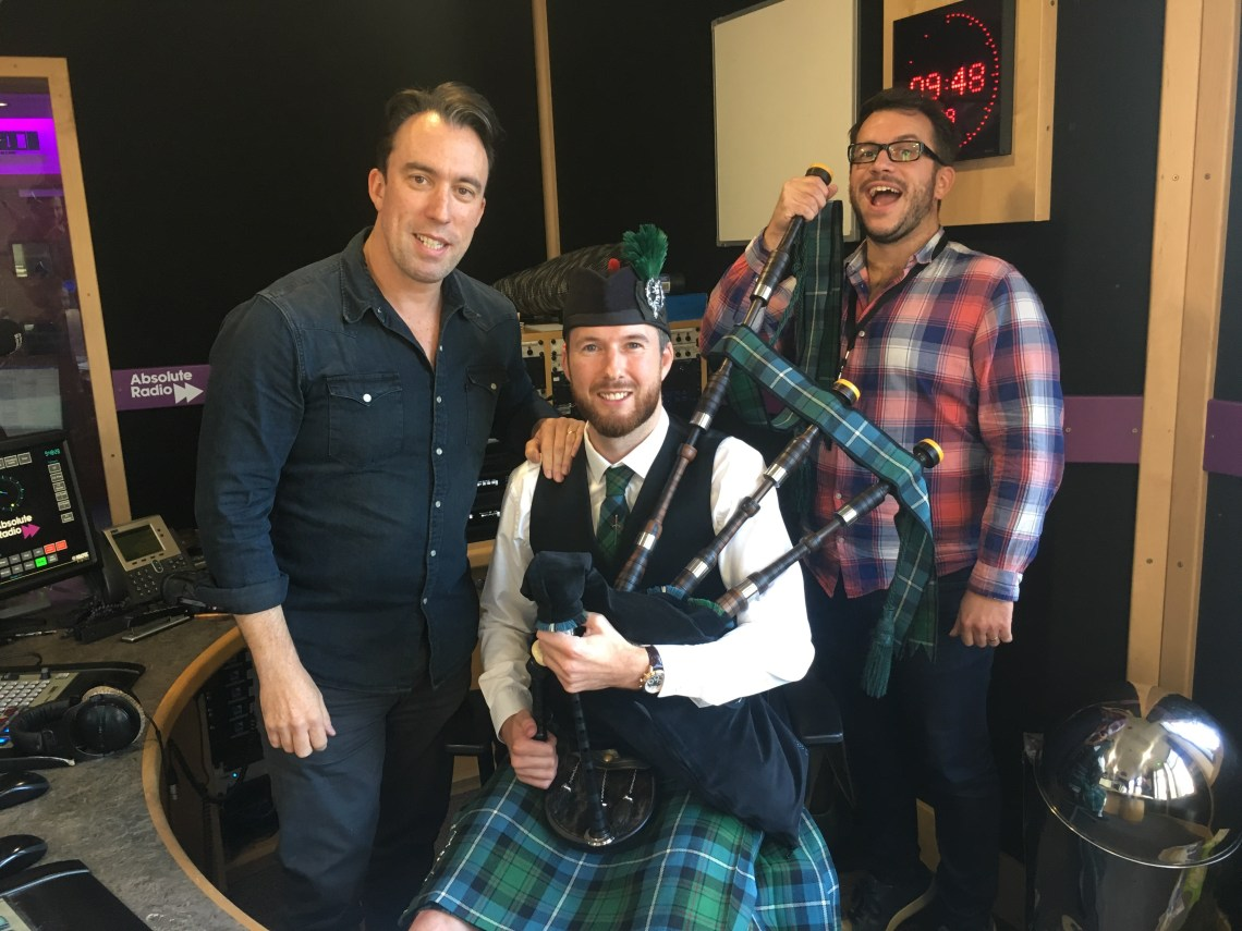 Image of Matthew McRae pictured with Christian O'connell as part of the Absolute radio breakfast show in Soho, London