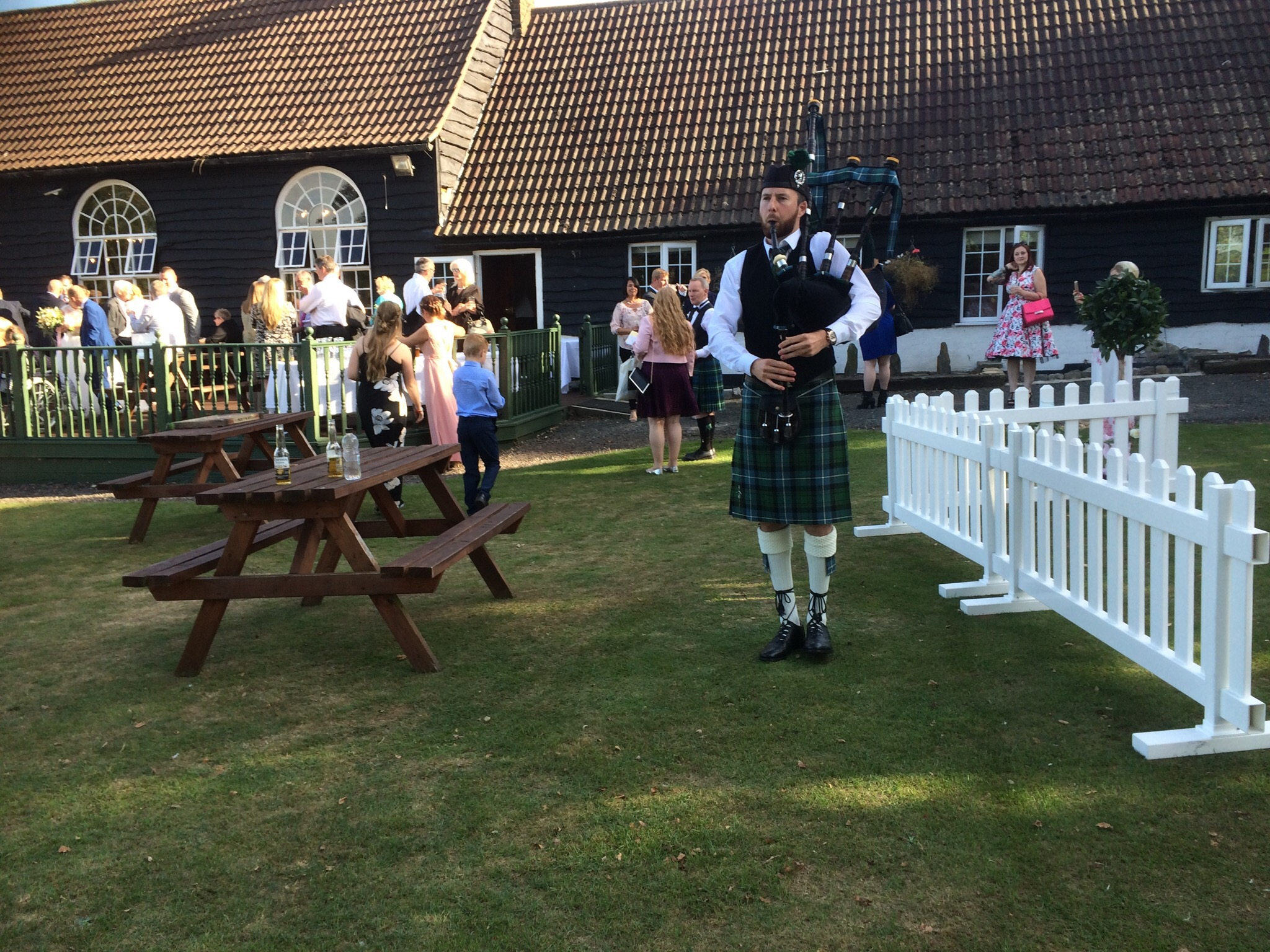 Image of the Essex bagpiper playing at a wedding at Maylands Golf Club - Essex
