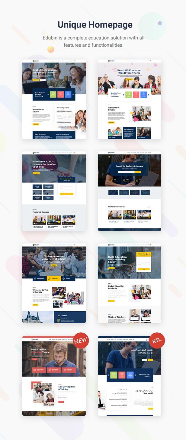 Education WordPress Theme Home Pages| Edubin