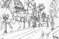 Pen and Wash Sketch of Prado Entrance Over Bridge to Balboa Park, San Diego