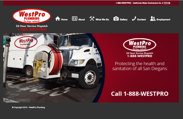 Screen Shot of WestPro Plumbing Website