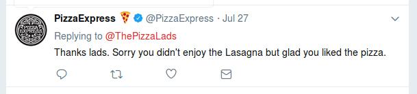 Pizza Express Lasagna response