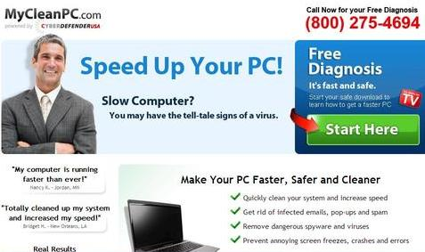 MyCleanPC.com installs spyware and viruses
