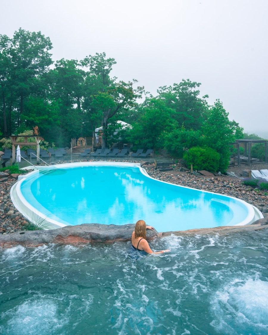 outdoor hot tub at nordik spa ottawa