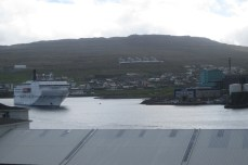 The ferry Norröna arrives in port at the Faroes, ready to take us onward to Iceland.