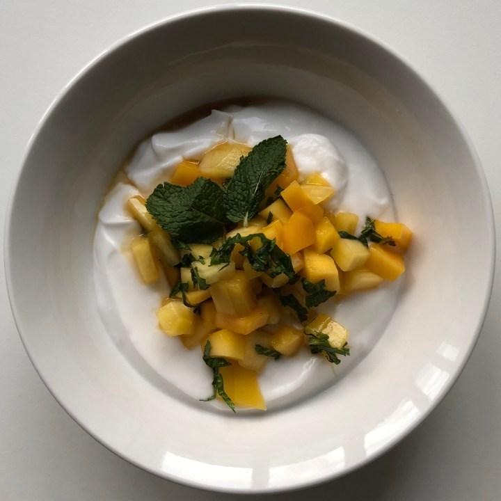 Coconut Yoghurt with Mango Mint Salsa