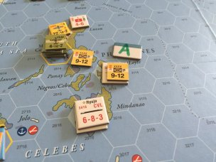 Reduced reacting USAAF, in hex 2813, leaving a bad situation for SW Pac.