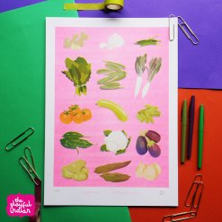 vegetables risograph print