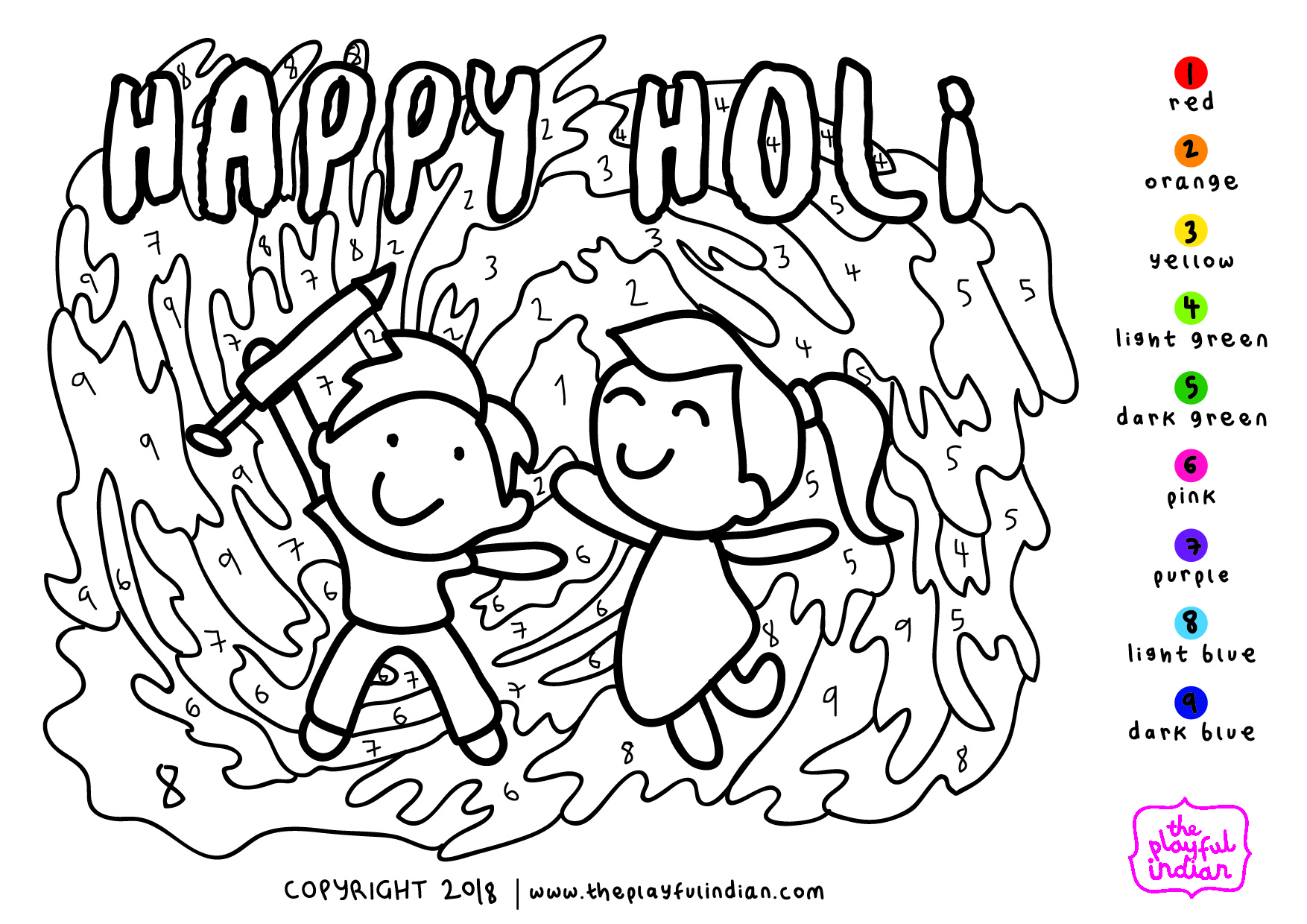 Free Holi Festival Colouring Pages To Download For Kids