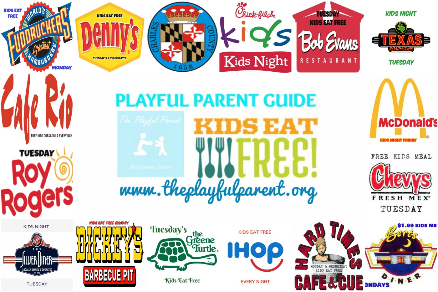 Maryland Restaurants where kids eat free or cheap. Find out where to eat each night of the week to save money or have fun at a local kids night.
