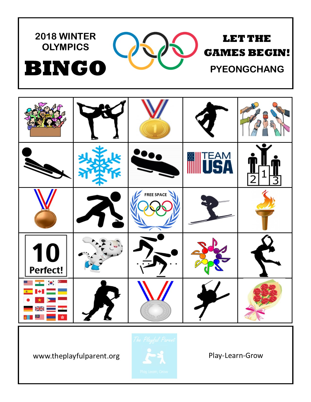 image regarding Winter Bingo Cards Free Printable identify Absolutely free PRINTABLE Winter season OLYMPIC BINGO