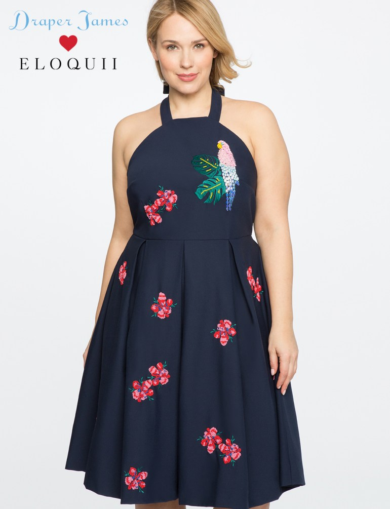 Draper James for ELOQUII Parrot Embellished Dress