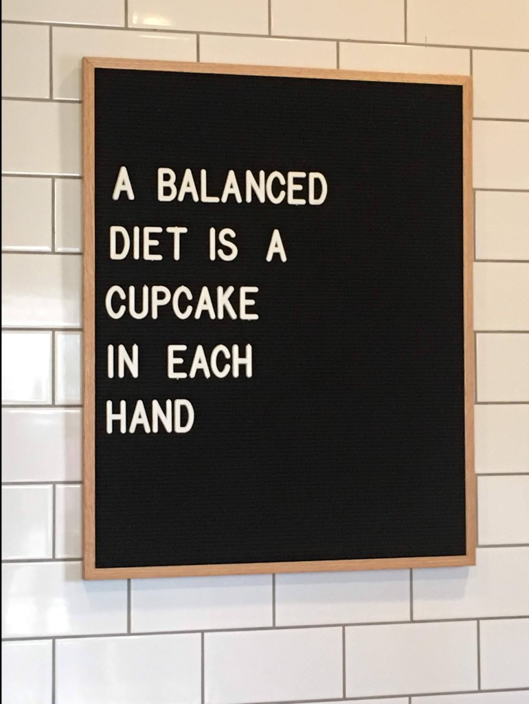 Cupcake Sign at Silos Baking Co