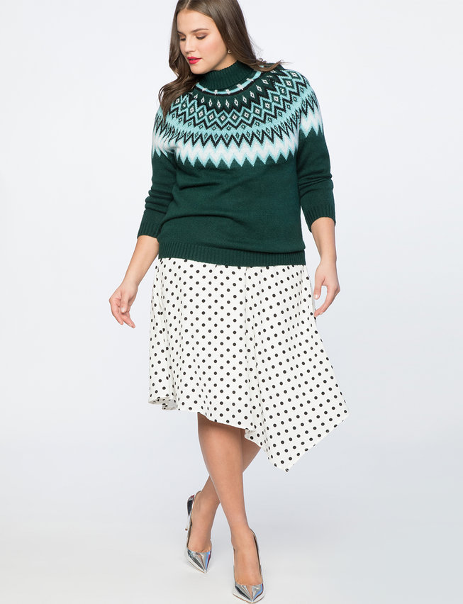 Polka Dot Asymmetric Skirt available in sizes 14-28 on Eloquii.com