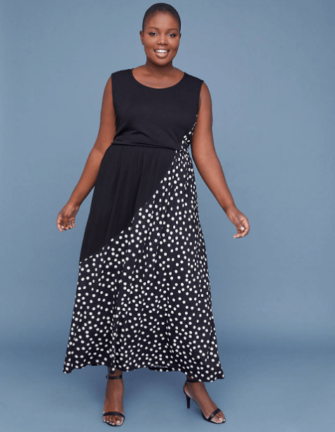 Polka Dot Jersey Maxi Dress available in sizes 10-28 at LaneBryant.com