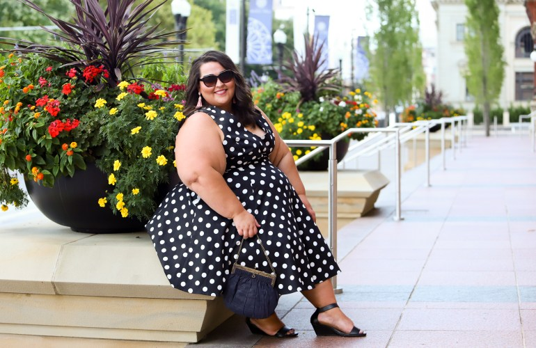 Miranda Schultz of The Plus Life Blog Wearing a Polka Dot Dress from Gwynnie Bee Subscription Service
