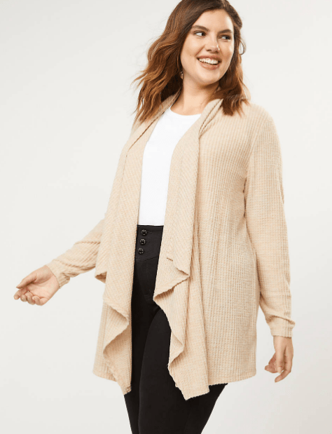 Fall 2019 Fashion Trends - Earth Tones -  Waffle Knit Cascade Sweater