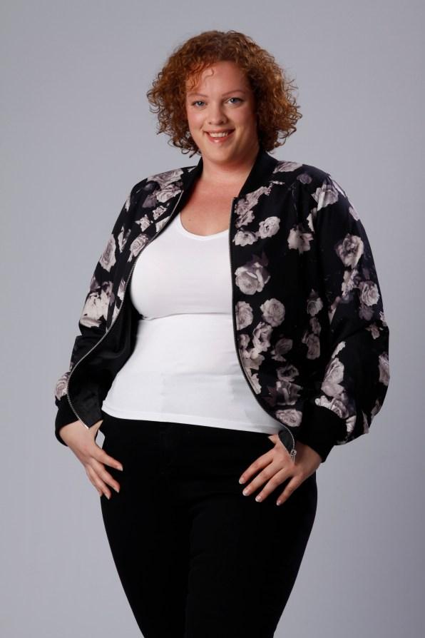 grey floral-print Bomber Jacket Yours Clothing UK