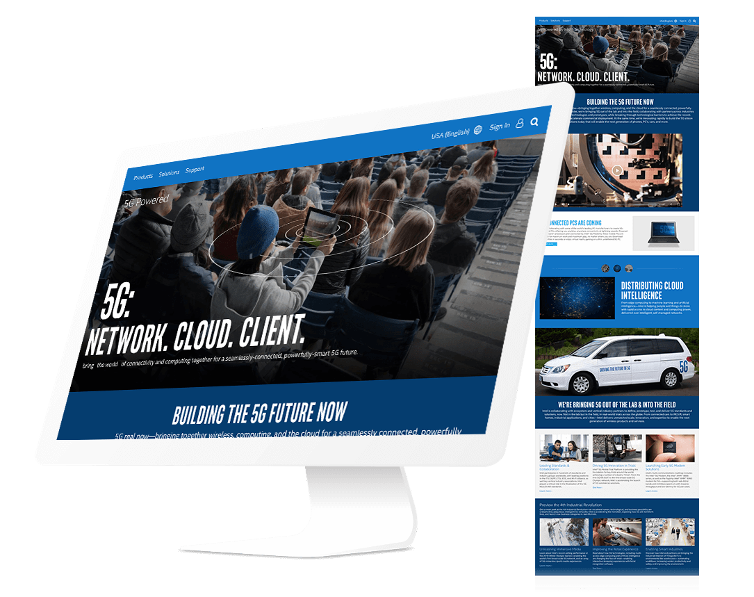 5G Landing Page for a Fortune 50 Silicon Chip Maker, example