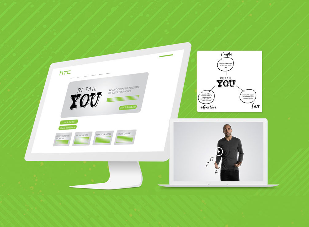 Retail You Content Hub for information allowing partners to customized pre-designed sales and marketing materials, and engage the assistance of HTC's media placement team