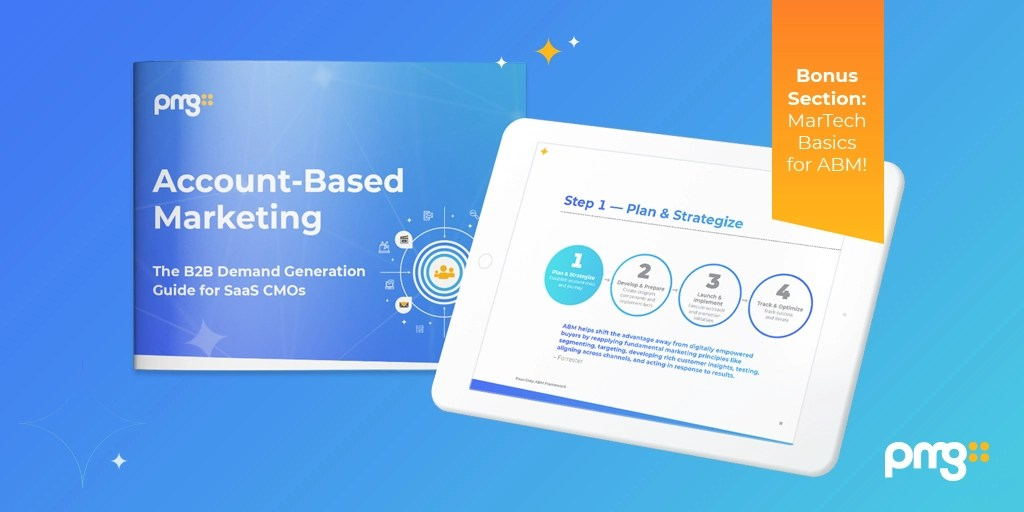 Account-Based Marketing eBook preview, visualized on a tablet, with a callout about the bonus section about MarTech Basics for ABM
