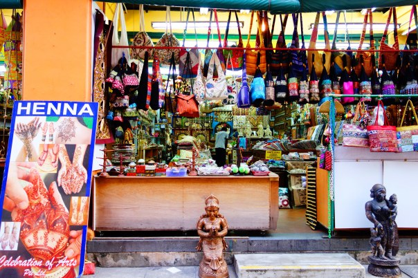 One of the small shops selling Indian trinkets, and saris.