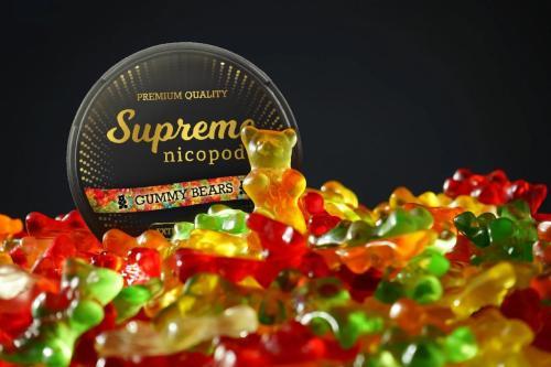 Supreme gummy bears nicotine pouches snus nicopods the pod block