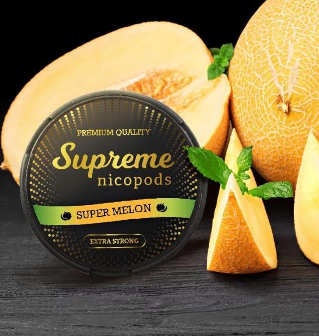 Supreme super melon nicotine pouches snus nicopods the pod block
