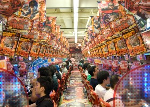 The flashing lights and noisy sounds of a Japanese Pachinko parlour; an ideal environment to encourage risk (Photo Credit: Tischbeinahe)