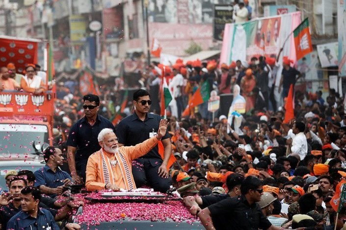 Modi waving at crowd
