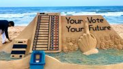 Sudarshan Patnaik Sand art on Poll