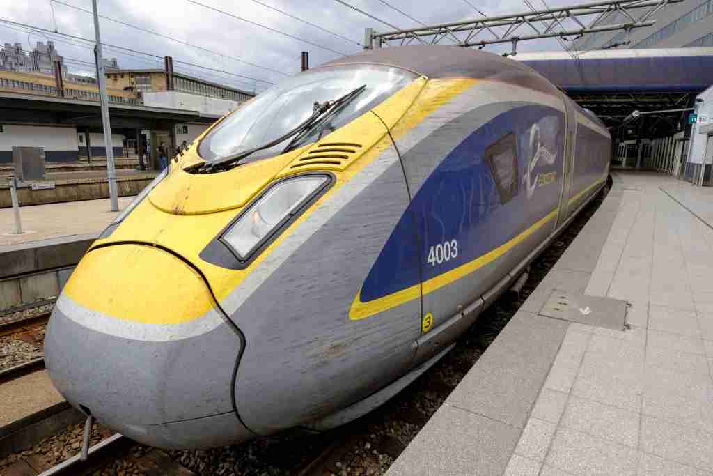 BRUSSELS, BELGIUM - AUGUST 7, 2019 : An Eurostar train is leaving the Brussels-South railway station (Gare du Midi) to Amsterdam on August 7; 2019. Eurostar International Ltd is a Franco-British railway undertaking, which since 1994 operates high-speed trains linking Paris and Brussels to the south of England and London, via Lille and Calais, via the Channel Tunnel. Direct trains also connect London to Amsterdam, Rotterdam, Marne-la-Vallée, Avignon, Lyon and Marseille. (Photo by Thierry Monasse/Getty Images)