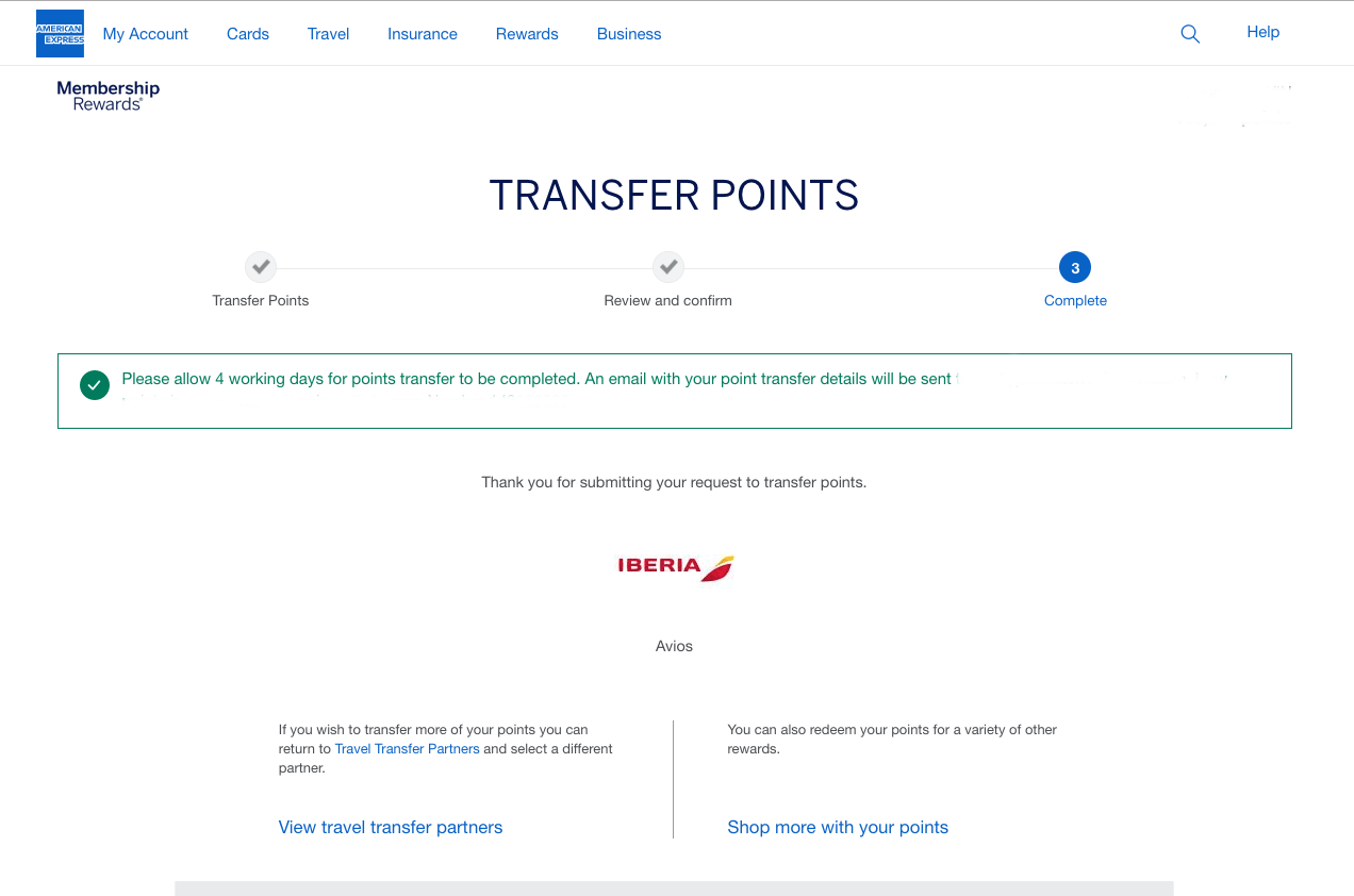Amex points could take up to four days to reach your Iberia Plus account.