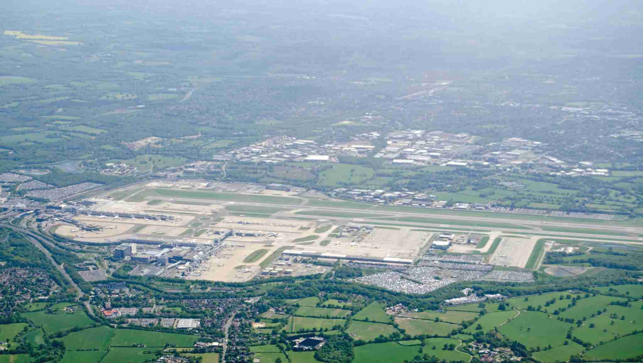 View from above of the runway and terminals at London