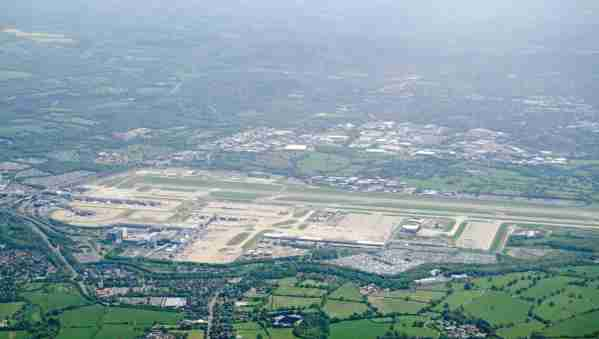 View from above of the runway and terminals at London's Gatwick Airport in Sussex, England.  The airport management would like to expand to two runways. (Photo by AmandaLewis/Getty Images)