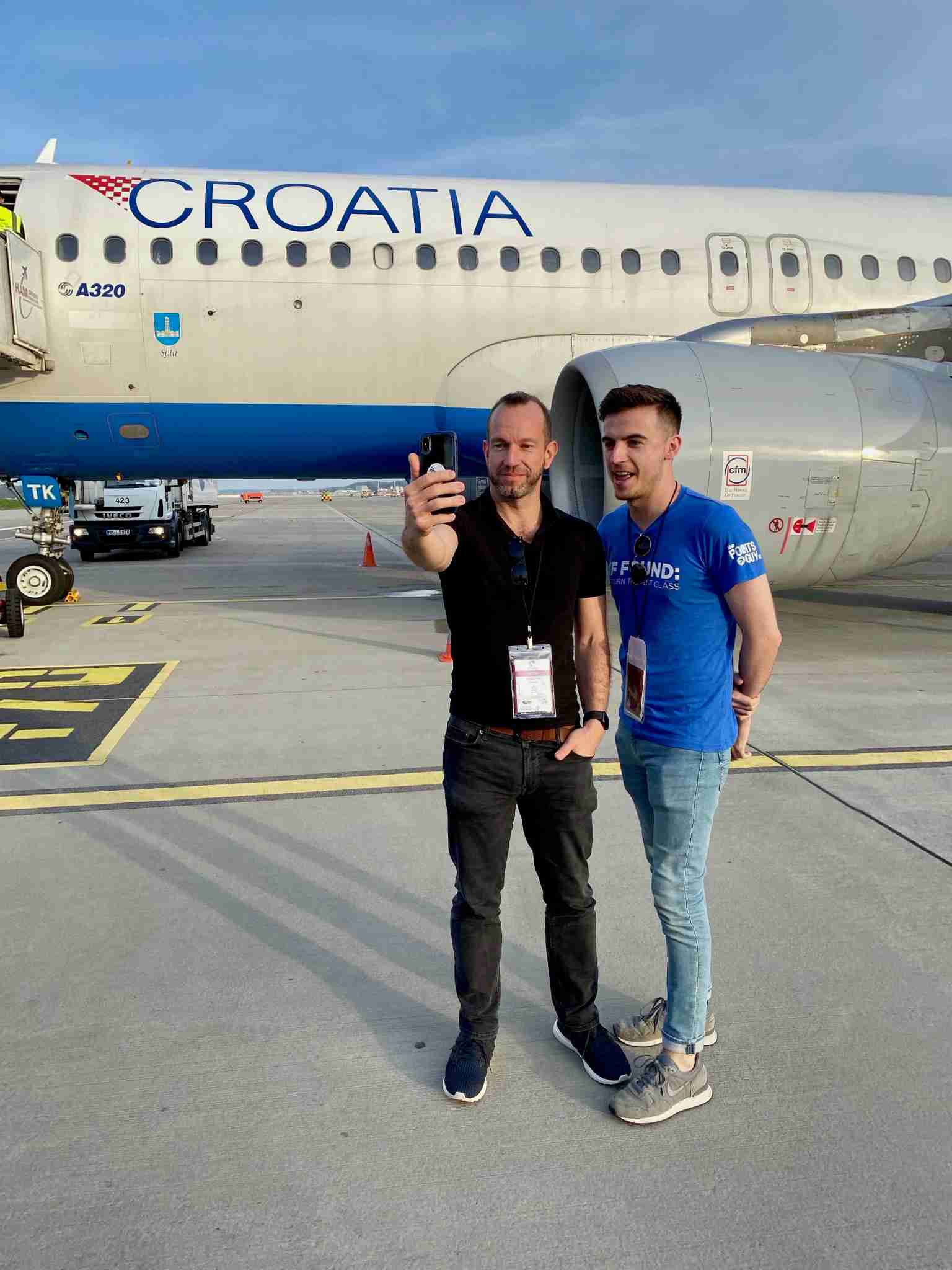 TPG UK competition winner Peter Brownless and Christian Kramer geeking over the Croatia Airlines A320 - Image by Christian Kramer / The Points Guy