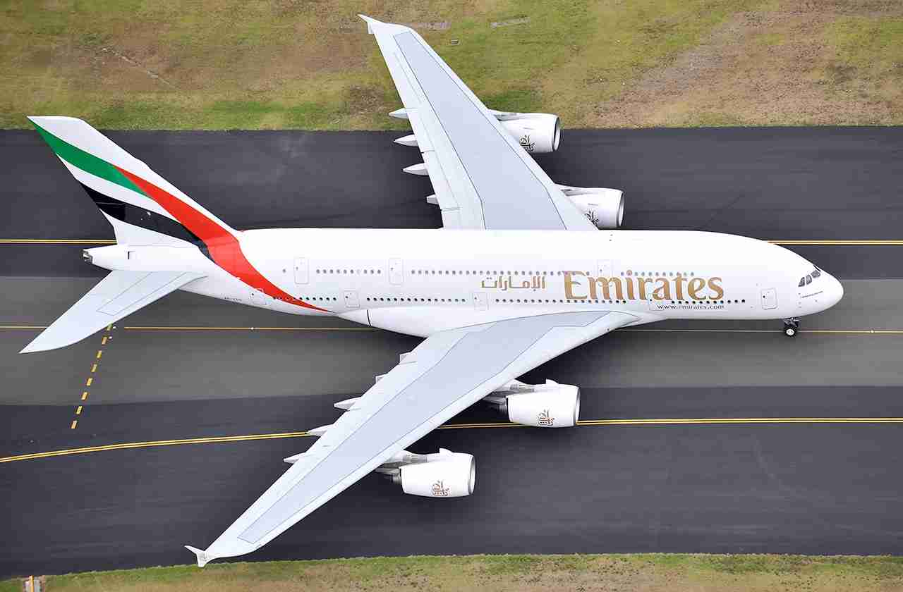 Emirates Airlines first A380 arriving on February 03, 2009 in Sydney, Australia. After its very first flight from Dubai to Sydney and onto Auckland, New Zealand the aircraft was on the ground for 90 minutes before leaving for the flight to New Zealand.