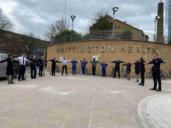 Project Wingman - Airline crew together with staff from Whittington Health (Photo by Whittington Health NHS Trust)