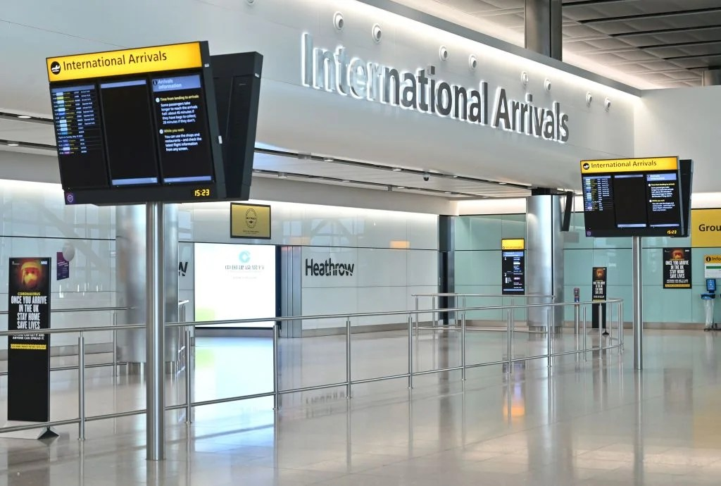 An empty International Arrivals hall is pictured at Terminal Two of London Heathrow Airport in west London, on May 9, 2020. - Britain could introduce a 14-day mandatory quarantine for international arrivals to stem the spread of coronavirus as part of its plan to ease the lockdown, an airline association said Saturday, sparking alarm in an industry already badly hit by the global pandemic. (Photo by JUSTIN TALLIS / AFP) (Photo by JUSTIN TALLIS/AFP via Getty Images)