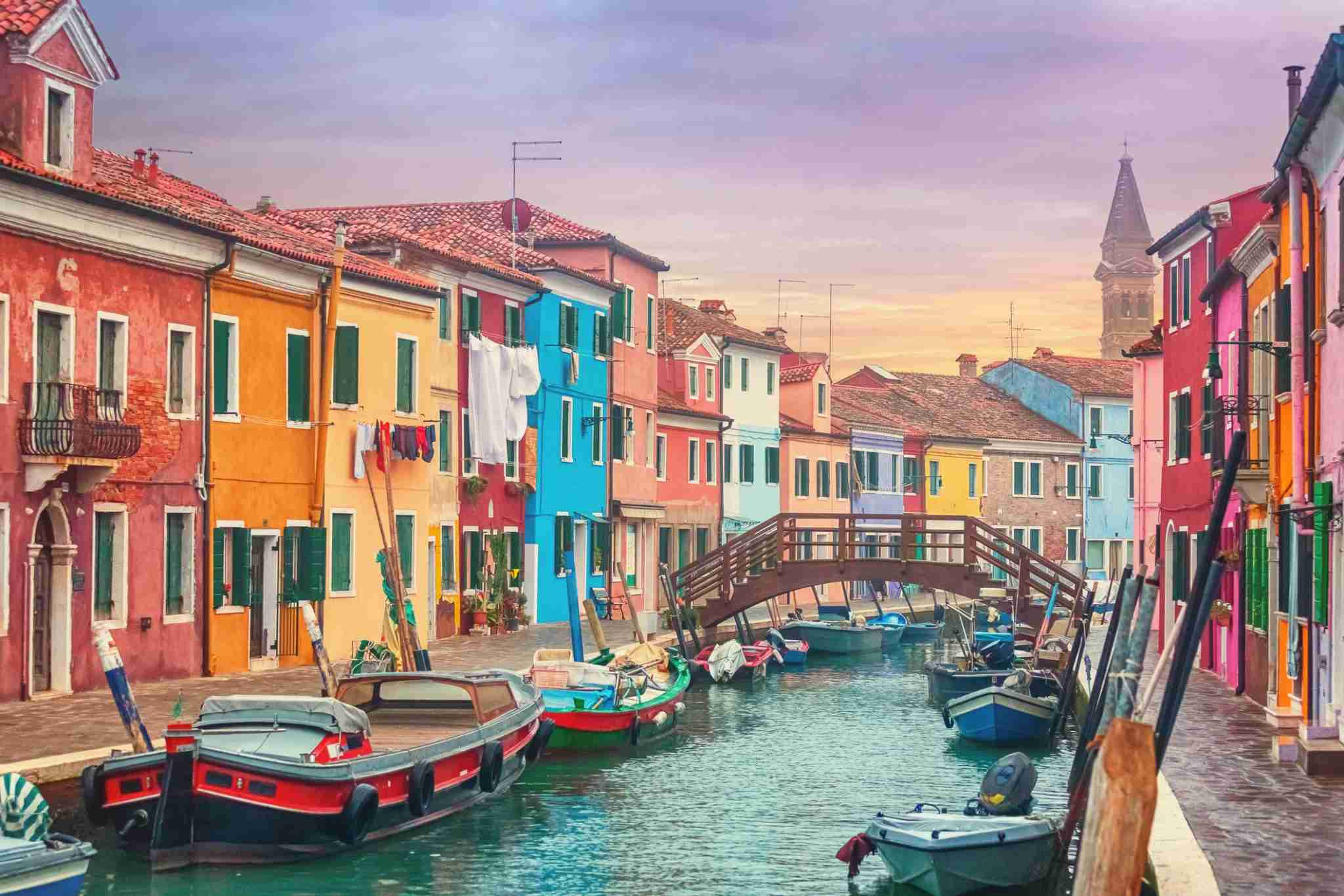 The colourful buildings of Burano, Italy in Venice. (Photo by Peter Zelei Images/Getty)