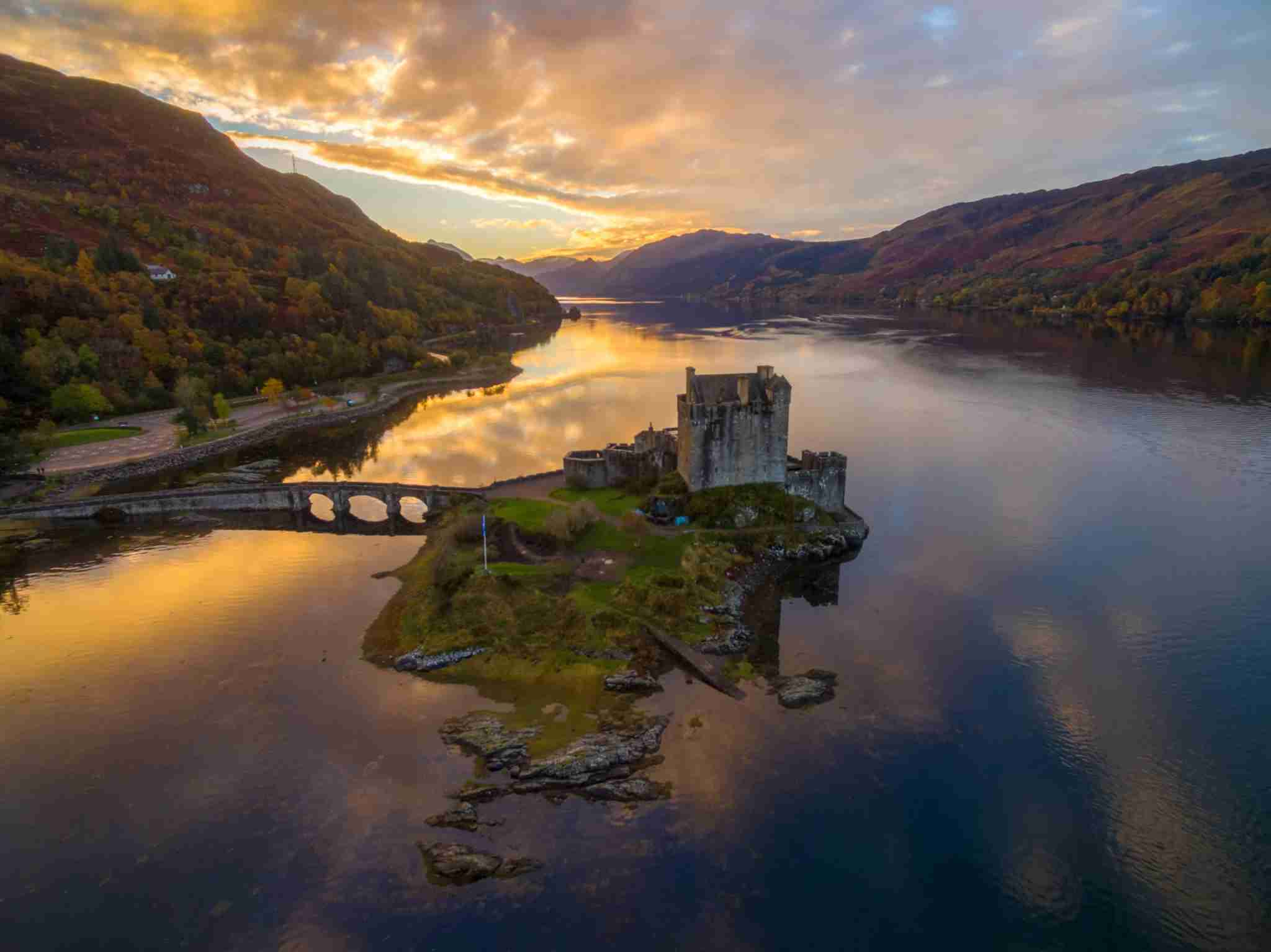 castle on an island where 3 lochs meet, dating from the 13th century. (Photo by Andrew Thomas/Getty Images)
