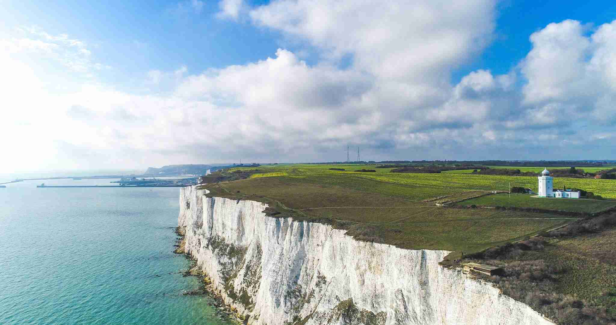 Aerial shot of the White Cliffs of Dover. (Photo by clubfoto/Getty Images)