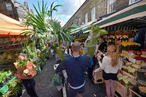 Colombia Road Flower Market in Shoreditch. (Photo by oversnap/Getty Images)