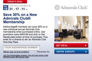 admirals club 30 day membership promotion code