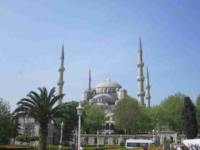 The imposing exterior of the Blue Mosque, one of Istanbul