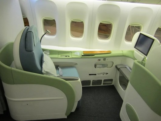A side seat in first class.