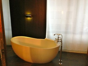 Loved the bathroom's freestanding tub.