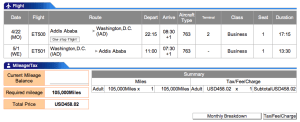 Ethiopian Airlines Addis Ababa-Washington (Dulles) Business Award