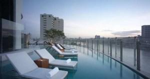 Infinity Pool at the Millennium Hilton Bangkok Hotel.